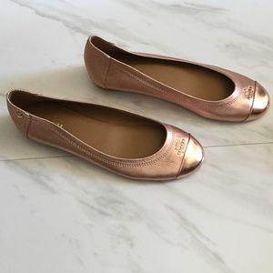 Coach Chelsea Rose Gold Metallic Flats
